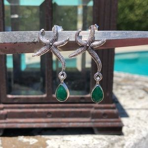Jewelry - Emerald Indian Sterling Silver Starfish Earrings